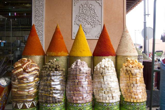 Mounds of spices are for sale in the souks.