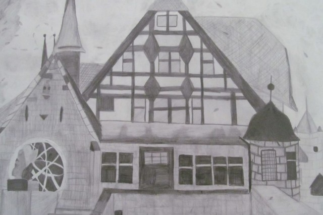 "Hohenfels Health Clinic recently partnered with the Hohenfels High School art classes to ""beautify"" the clinic. Student artwork is now featured around the clnic. This example is ""Coburg, Germany"" by Pauline Woods, grade 9."