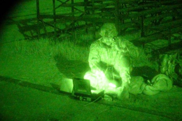 As depicted here with night vision goggles, the Global Rapid Response Information Package provides network communications and access to mission command applications, as well as supporting calls-for-fire and MedEvac requests. These terminals provide secure and non-secure communications to forces operating in austere and demanding environments such as embedded training teams and other small units that do not have access to the network equipment and infrastructure of established forward operating bases.