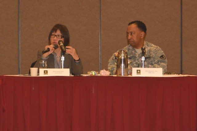 The Hon. Heidi Shyu, ASA (ALT) and Gen. Dennis L. Via, AMC commanding general, co-chaired the JM&L LCMC JASR. Through their collaboration, Shyu and Via provided strategic direction and guidance to all attendees.
