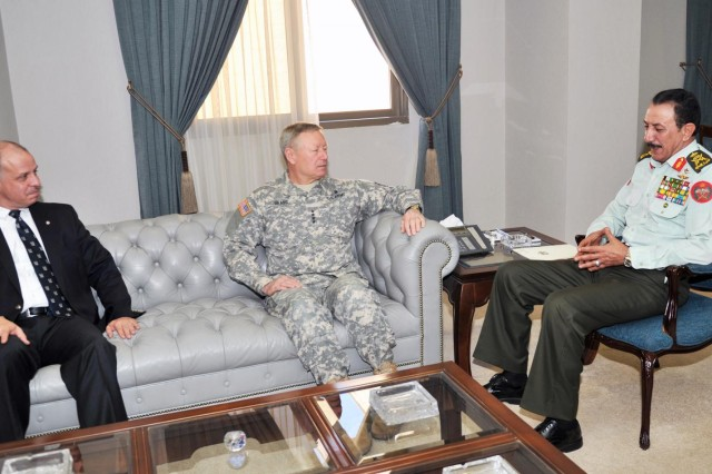 Gen. Frank Grass (middle), the chief of the National Guard Bureau, meets with Gen. Masha Al-Zaben (right), chair of the Jordanian Joint Chiefs of Staff, and His Royal Highness Lt. Gen. Prince Faisal Bin Al Hussein of Jordan (left) in Jordan, March 27, 2014. The Colorado National Guard is partnered with Jordan in the National Guard State Partnership Program.
