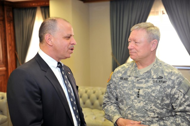 Gen. Frank Grass, the chief of the National Guard Bureau, meets with Gen. Masha Al-Zaben (not pictured), chair of the Jordanian Joint Chiefs of Staff, and His Royal Highness Lt. Gen. Prince Faisal Bin Al Hussein of Jordan (left) in Jordan, March 27, 2014. The Colorado National Guard is partnered with Jordan in the National Guard State Partnership Program.
