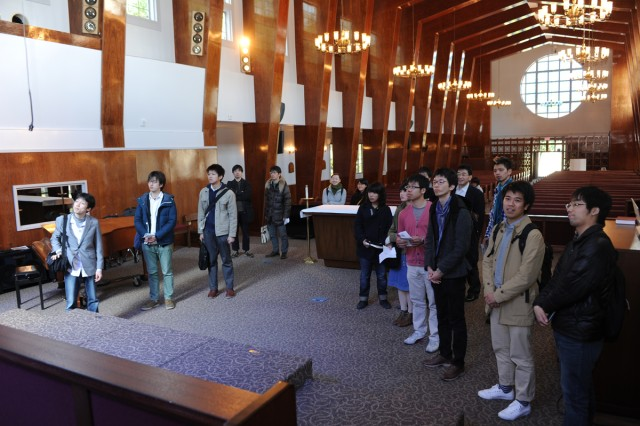 Japanese Christian Student Association members tour the Camp Zama Chapel on March 24 during a recent visit to the Camp Zama installation.