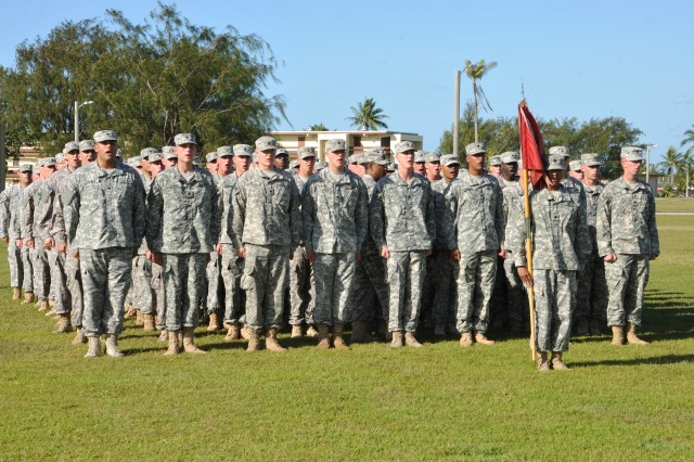 Soldiers of Alpha Battery, 4th Air Defense Artillery Regiment (A-4), who have been deployed as part of Task Force Talon with 94th AAMDC as mission command for the last year, prepare to conduct the traditional Transfer of Authority ceremony at Andersen Air Force Base in Guam Apr. 1, 2014 where they cased their guidon signaling the end of their mission. A-4 will return home to Fort Bliss, TX. (Photo by SrA Cierra Presentado, 36th Wing Public Affairs Office)