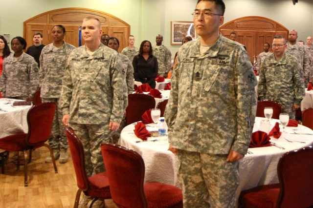 Soldiers from the 19th Expeditionary Sustainment Command and its subordinate units participate at the Area IV Prayer Luncheon.