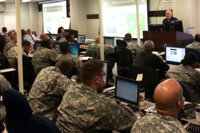 Dwight Peters teaches profile indicators during a recent OPSEC training class at the Soldier Support Institute at Fort Jackson, S.C. Peters, the installation operations security manager, is one of two Level III certified OPSEC officers currently on Fort Jackson.