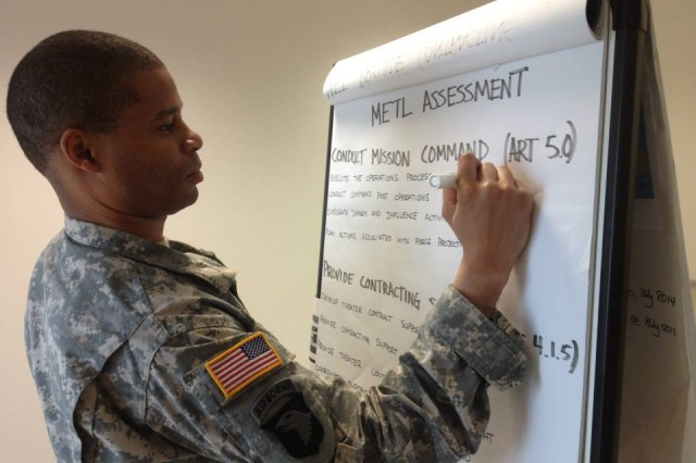 Staff Sgt. Booker Jordan, 409th Contracting Support Brigade, writes out Mission Essential Task Lists during a training deployment exercise in support of Saber Guardian 14 in Bulgaria.