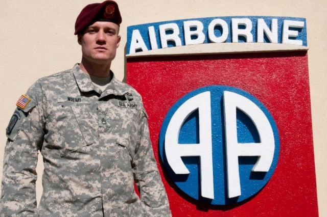 Staff Sgt. Rick Niemi, a paratrooper with 3rd battalion, 319th Airborne Field Artillery Regiment, 1st Brigade Combat Team, 82nd Airborne Division, is slated to compete in the 82nd Abn. Div. Jumpmaster of the Year Competition, at Fort Bragg, N.C., April 8-11. (U.S. Army photo by Staff Sgt. Javier O. Orona)