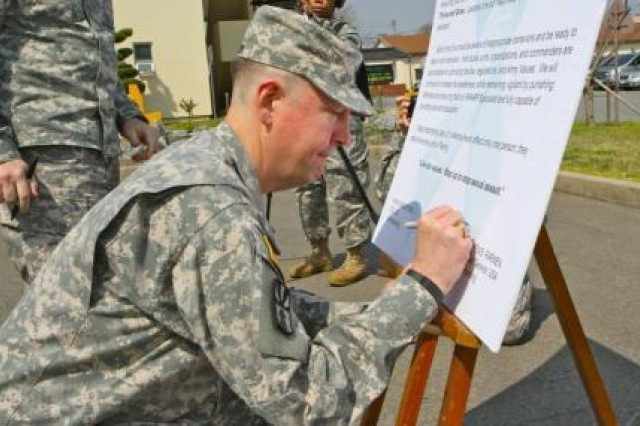 """The Commander of the 19th ESC, Brig. Gen. Stephen E. Farmen, attended the """"Proclamation Signing Ceremony for Area IV"""" here on April 1. Farmen and the Commander of United Sates Army Garrison-Daegu, Col Jim M. Bradford signed the proclamation on the SHARP poster. Farmen emphasized the importance of the SHARP in Army. """"Live our values. Step up to stop sexual assault."""""""