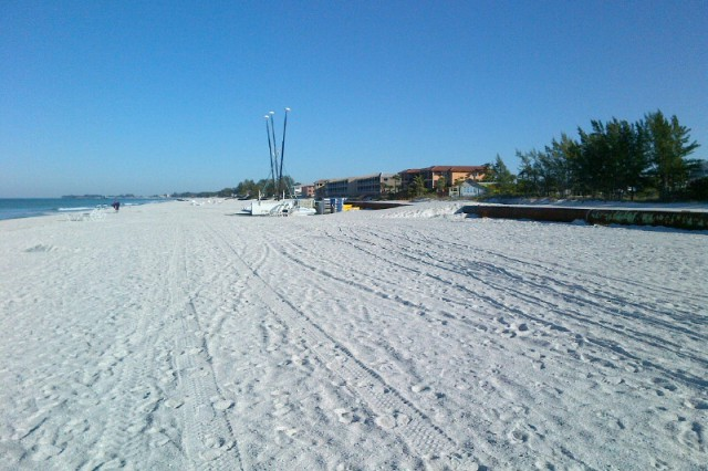 The U.S. Army Corps of Engineers is nearly done with this portion of beach renourishment on Anna Maria Island, Florida. The work was done in response to impacts resulting from Hurricane Sandy in 2012 and was federally funded under the Flood Control and Coastal Emergency (FCCE) program. The Corps' Jacksonville District is placing approximately 7.5 million cubic yards of sand on 38.5 miles of eroded beaches in Florida as part of the FCCE program.
