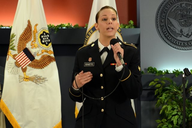 Spc. Natasha Schuette, a sexual assault prevention specialist, speaks about her experiences as a victim of sexual assault and encourages all victims -- male and female -- to talk to someone about their assault. She spoke at a Women's History Month event at the Pentagon, March 31, 2014.