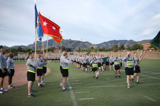 At the completion of the Walk of Respect at Warrior-Sentinel Field Tuesday, Mag. Gen. Robert Ashley, commanding general, U.S. Army Intelligence Center of Excellence and Fort Huachuca, and Brig. Gen. Peter Gallagher, U.S. Army Network Enterprise...