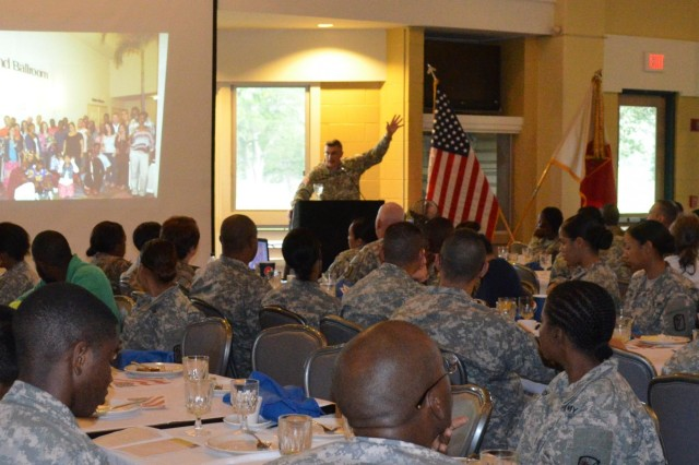 Installation Material Command-Pacific Region chaplain, Chaplain (Col.) David Giammona , addresses the Soldiers of the 45th Sustainment Brigade during a prayer breakfast at the Leilehua Golf Course, Wahiawa, Hawaii, April 2. The event included a hot meal, inspiring speeches, and prayers for Soldiers for their upcoming deploying to Afghanistan. (U.S. Army photo by Spc. Erin Sherwood, 45th Sustainment Brigade Public Affairs)