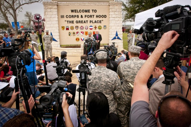 Lt. Gen. Mark Milley, III Corps and Fort Hood commanding general, and U.S. Senator John Cornyn take questions from reporters during a press conference outside the main gate at Fort Hood, Texas April 3. During the press conference, Milley identified the assailant in the April 2 shooting incident on the post as Spc. Ivan A. Lopez, 34, a truck driver with the 49th Transportation Movement Control Battalion, 13th Sustainment Command (Expeditionary). Sixteen people were injured and three killed in the shooting spree. Lopez took his own life following a confrontation with a military police officer. The senator offered condolences as well as his support to the Fort Hood community at the press conference. (U.S. Army photo by Sgt. Ken Scar, 7th Mobile Public Affairs Detachment)