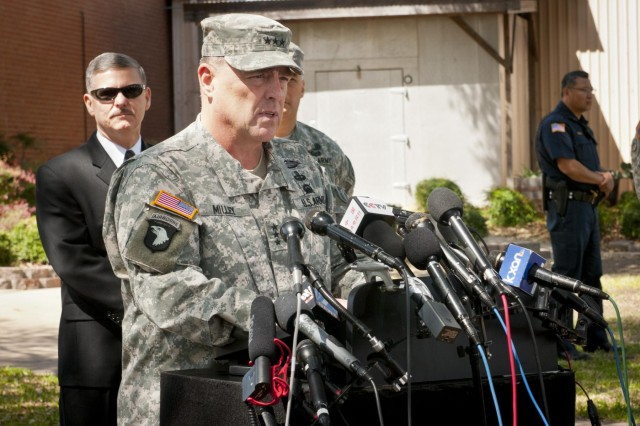 U.S. Army Lt. Gen. Mark A. Milley, III Corps and Fort Hood commanding general, addresses the media during a press conference about the April 2 shooting on Fort Hood, April 4, 2014. (U.S. Army photo by Sgt. Ken Scar, 7th Mobile Public Affairs Detachment)