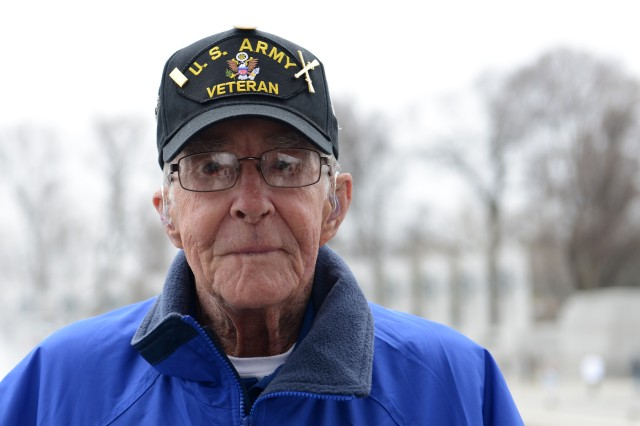 World War II Army veteran Bob Martin visits the World War II Memorial in Washington, D.C., during an Honor Flight trip to the nation's capital, April 4, 2014.