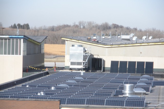A 40kW solar photovoltaic system on the new Field Maintenance Shop at the Arden Hills Army Training Site.  The system will satisfy about 6.5% of energy requirements of the building. This is the first use of solar energy for the Minnesota Army National Guard and more is planned.