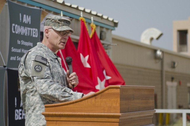 Lt. Gen. James L. Terry, U.S. Army Central commanding general, speaks at the the ribbon cutting of a 24-hour sexual harassment/assault response and prevention center, April 7 on Camp Arifjan, Kuwait. Terry said the facility ensures there is a physical location in theater manned 24-hours a day, seven days a week to provide support, services and care to victims of sexual harassment and assault.