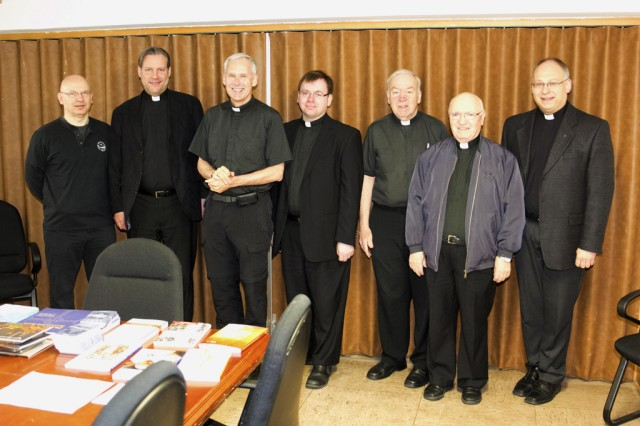 From left, Chaplain (Maj.) Krzysztof Kopec of Grafenwoehr and Vilseck, Chaplain (Capt.) Stephane Migy of Garmisch, Bishop (Col.) F. Richard Spencer, Father Thomas Gricoski, Chaplain Jim Betz (Lt. Col.) of Kaiserslautern, Father Helmut Pflanz of Landstuhl, and Father Matthias Schmitz of Baumholder, stand together for an April 7, 2014, Clergy Day event at Katterbach, Germany.