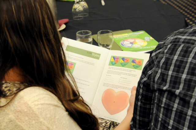 An Army Reserve couple reviews a workpage on discovering how they communicate their love to each other, during a Strong Bonds event in Portland, Ore., April 5. During Strong Bond events, participants are given tools and information to enhance communication and healthier relationships with a nationally recognized curriculum called Prevention Relationship Enhancement Program, or PREP. Using this curriculum participants are led through video and workbook-supported discussions on various aspects of communication, personalities and problem solving.