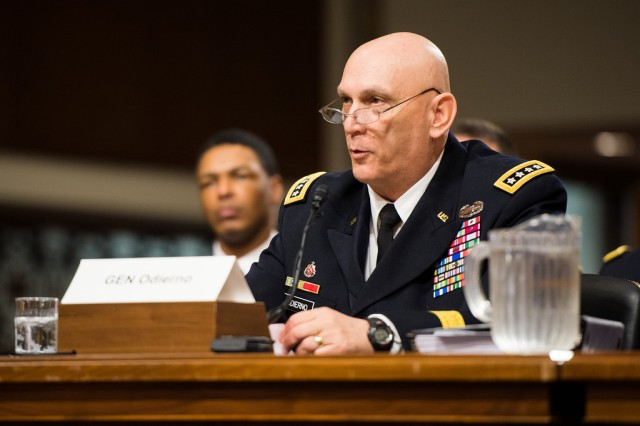 "Chief of Staff of the Army Gen. Ray Odierno testifies to the Senate Armed Services Committee April 9, 2014.  He says measures implemented at Fort Hood, Texas, following a 2009 shooting there kept the incident last week from being ""much worse."""