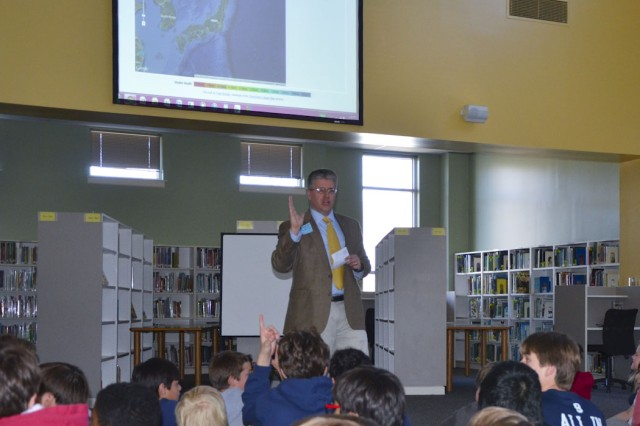 Theodore Kubista speaks to seventh-grade students at Randolph School about the relationship between the U.S. and Japan following the aftermath of the earthquake and tsunami that hit the country in 2011.