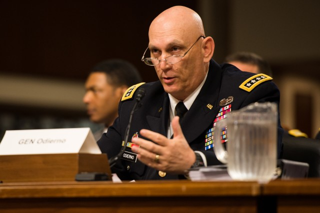 Army Chief of Staff Gen. Ray Odierno testifies to the Senate Armed Services Committee on the Army's active and reserve force mix in review of the Defense Authorization Request for fiscal year 2015 and future years, in Washington, D.C., April 8, 2014.