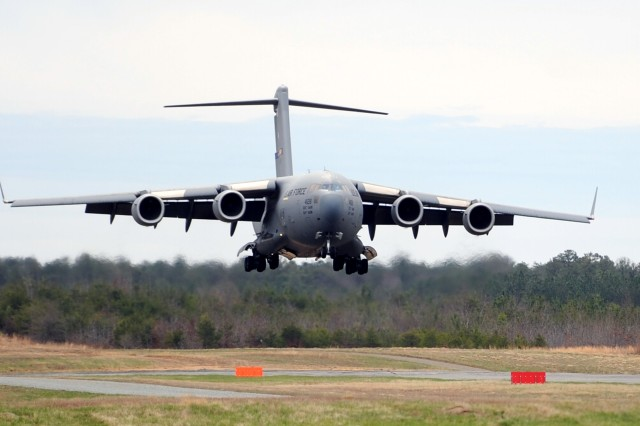 U.S. Air Force C-17s based at Joint Base McGuire-Dix-Lakehurst N.J. practiced airfield approaches and landings at Fort A.P. Hill, Va. on April 8.