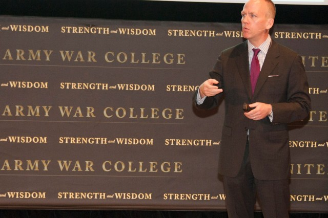 Under Secretary of the Army Brad R. Carson addresses U.S. Army War College students during Leader Day, April 8, 2014, at Carlisle Barracks, Pa.