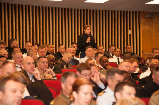 An audience member poses a question for the speakers' panel during the U.S. Army War College Leader Day, April 8, 2014, at Carlisle Barracks, Pa.