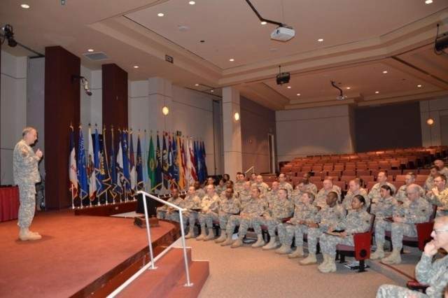 Brig. Gen. Phillip Jolly takes a moment to honor and commend the Soldiers who were recently accessed into the acquisition workforce during the Army Reserve Sustainment Command Acquisition Accession Ceremony on April 4.