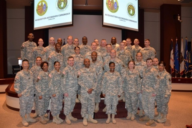 More than 30 Soldiers of the Army Reserve Sustainment Command were recently accessed into the acquisition workforce and honored during a historic Accession Ceremony on April 4.