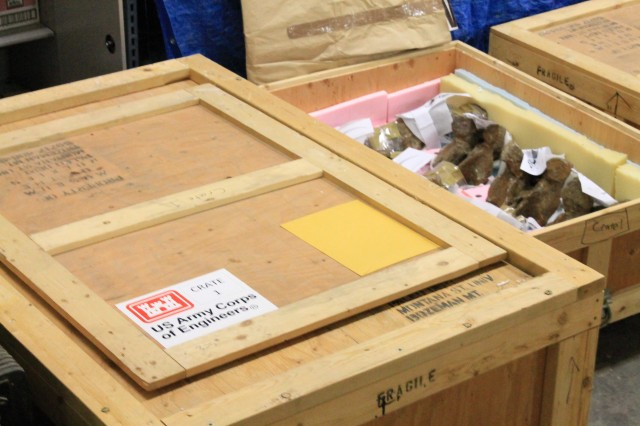 Tyrannosaurus Rex fossils belonging to the U.S. Army Corps of Engineers are prepared for shipping cross-country in a 50 year loan to the Smithsonian Institute. The U.S. Army owns two T. Rex fossils in a collection of artifacts managed by the Corps' Mandatory Center of Expertise for the Curation and Management of Archaeological Collections in St. Louis.