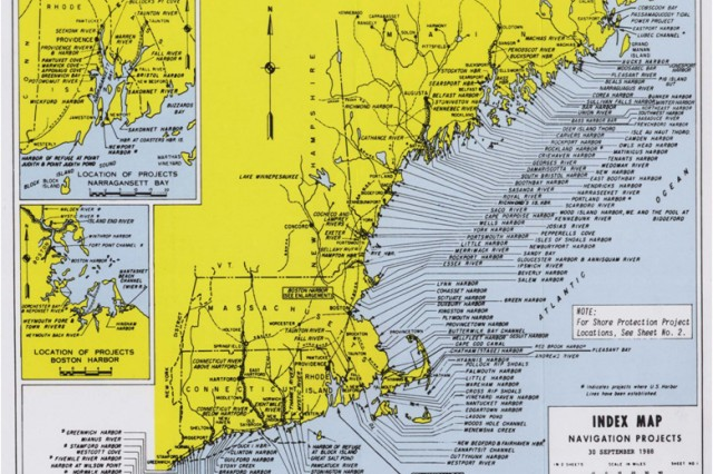 This Index Map from 1988 shows navigation projects - to include small ports and harbors - in New England, which the U.S. Army Corps of Engineers is responsible for. Twenty percent of the total national economic benefits for fisheries comes from these small ports and harbors, according to a 2010 study by the National Oceanic and Atmospheric Administration.