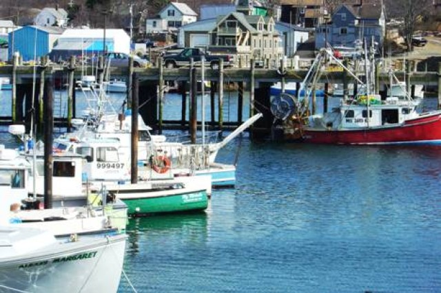 Small Commercial Fishing Vessels in Maine. (Photo courtesy National Oceanic and Atmospheric Administration)