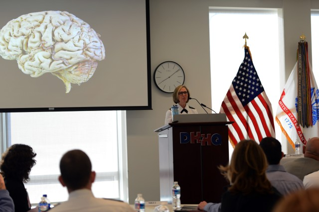 "Army Surgeon General Lt. Gen. Patricia D. Horoho speaks at the beginning of a two-day ""Brain Health Consortium"" at the Defense Heath Headquarters in Falls Church, Va., April 10, 2014."