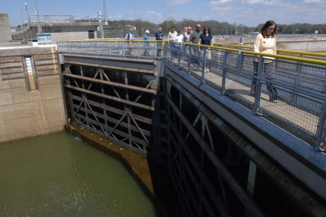 Local, state and federal officials tour the Old Hickory Navigation Lock during a Silver Jackets meeting at Old Hickory Dam in Old Hickory, Tenn., April 9, 2014. Silver Jackets is a program that promotes cohesive solutions and synchronizes plans and programs between the agencies. (USACE photo by Lee Roberts)