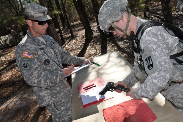 Twenty-Four Fort Jackson, S.C., Soldiers were awarded the Expert Infantryman Badge April 4, 2014. The trials stress physical fitness, weapons proficiency and common Soldier skills, such as land navigation and foot marching.