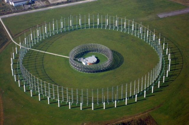 "The enormous AN/FLR-9 ""Elephant Cage"" antenna array at Field Station Augsburg in Germany."