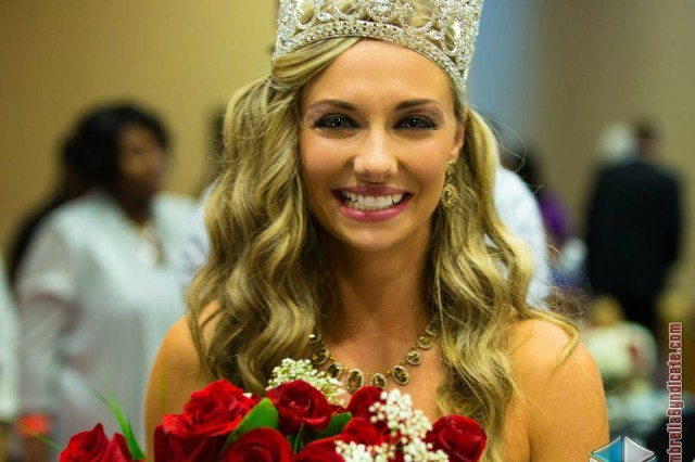 """Ms. Veteran America"" Staff Sgt. Allaina Guitron upon winning the competition. Her 12-month reign runs through October."