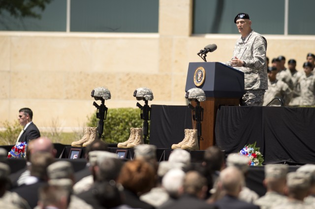 Army Chief of Staff Gen. Ray Odierno speaks about Sgt. Carlos Lazaney-Rodriguez, Sgt. Timothy Owens, Sgt. 1st Class Daniel Ferguson during a memorial held at Fort Hood Tx, April 09, 2014 in honor of the fallen Soldiers from the shooting that took place on April 02, 2014.