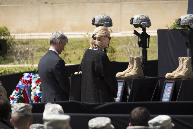 Secretary of the Army John McHugh views the Fallen Soldier Memorial at Fort Hood on April 09, 2014 during a ceremony honoring the fallen Soldiers from the Fort Hood shooting that took place on April 02, 2014.