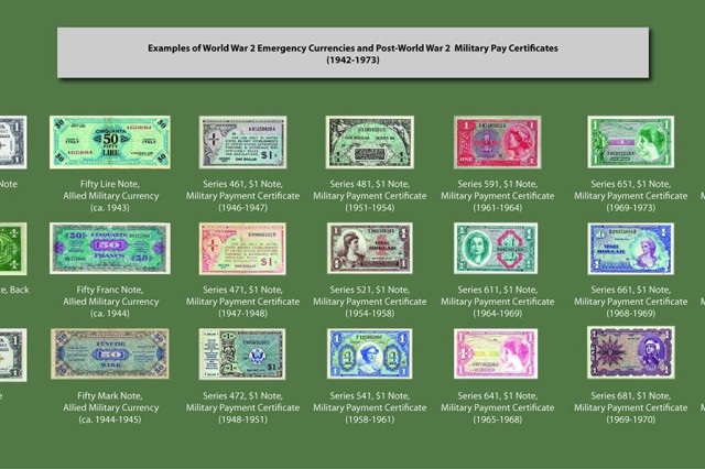 A display panel describes U.S. emergency currencies, Allied military currencies (from World War II), and U.S. military payment certificates.