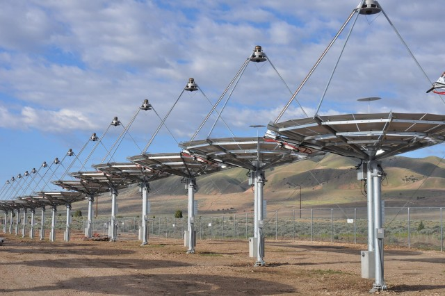 The solar array at the alternative energy corridor at Tooele Army Depot in Utah is a fiscal year 2012 Army Energy Conservation Investment Program project. Pictured here in May 2013, the 429 solar dishes are expected to provide 1.5 megawatts of electricity, approximately 30 percent of the depot's annual electric energy need when the project is completed later this summer.