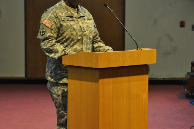 Master Sgt. Gwendolyn Beauford, from Eighth Army G-4, explains how the Sexual Assault Awareness Month began and continues today during the official kick-off event at the South Post Chapel, Mar. 31. (U.S. Army photo by Pfc. Moon Hyungju)