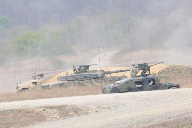 American and South Korean forces from Task Force Bayonet conduct a combined training exercise at Rodriguez Live Fire Complex in South Korea.