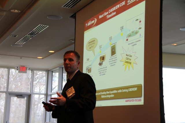 "Dr. Paul Zablocky explained that ""software-defined RF"" would cut SWaP and allow for seamless interoperability between C4ISR/EW functions at the April AFCEA Aberdeen-Maryland Chapter Luncheon, April 9, 2014."
