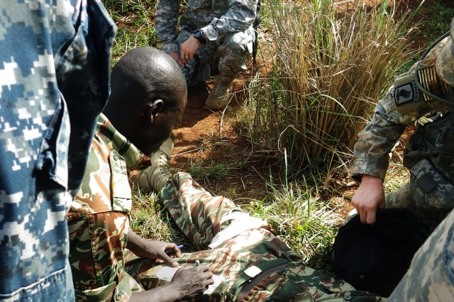 U.S. Army Maj. Brent Odom (top), RDECOM Field Assistance in Science and Technology advisor to U.S. Army Africa, observes Cameroon Soldiers developing combat life-saving skills in Koutaba, Cameroon, during Central Accord 2014, March 18.