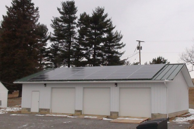 Photovoltaic solar panels installed on the roof of the maintenance  shed at Beach City Lake in Beach City, Ohio.