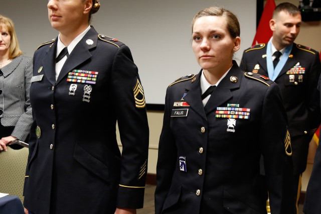 Master Sgt. Jessica Lam, 76th Operational Response Command, and Staff Sgt. Kristina Fallis, 6/108th Regiment, 1st Brigade, 100th Training Division (Operations Support) were inducted into the United States Army Reserve Command chapter of the Sergeant Audie Murphy Club during a ceremony at Fort Knox, Ky., in March 2014. (U.S. Army photo by Pfc. Jamill Ford/Released)